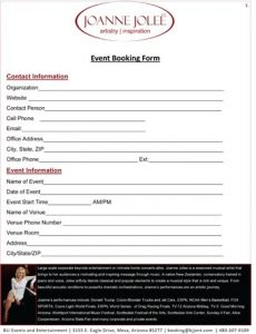 Joanne Jolee Event Booking Form